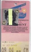 CARTE D'ABONNEMENT  TELEPHERIQUE DE LEYSINS A.  AVRIL 1988 - Kaarten