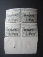 1919 ORPHELINS 10c On 15c + 10c. Marginal BLOCK OF 4. (some Perf Separation). MH. Yv 90
