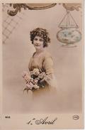 AK Künstlerkarte .- Frau Mit Blumen - 1er Avril - Ca. 1910 (28099) - Frauen