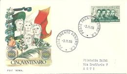 """Busta """"F.Filzi, C.Battisti, D.Chiesa, N.Sauro, Cinquantenario Martirio 1916-1966"""", F.D.C. """"Roma"""", Annullo """"Trento"""" - 6. 1946-.. Repubblica"""