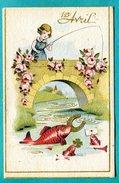 Scène Enfantine 1er AVRIL  Pêche Sur Un Pont ... Garçon, Garçonnet ,fille Fillette , Cheval, Chien - 1er Avril - Poisson D'avril