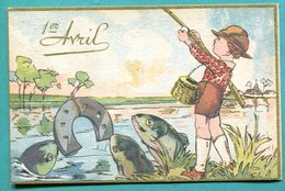 Scène Enfantine 1er AVRIL  Pêche Avec Un Fer A Cheval ... Garçon, Garçonnet ,fille Fillette - 1er Avril - Poisson D'avril