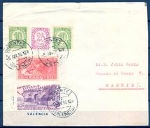 1938 , VALENCIA , CORREO URGENTE , SOBRE CIRCULADO A MADRID , MAT. URGENTES / VALENCIA - 1931-Hoy: 2ª República - ... Juan Carlos I