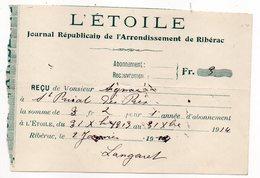 """1914--facture""""L'ETOILE""""-Journal Républicain Arrondissement RIBERAC-24--St PRIVAT DES PRES-Dordogne - 1900 – 1949"""