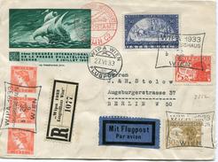 AUTRICHE ENV. RECOMMANDEE PAR AVION WIPA 1933 AVEC AFFRANCHISSEMENT DONT N°430a DEPART WIPA WIEN 27 VI 33 POUR BERLIN - 1918-1945 1. Republik