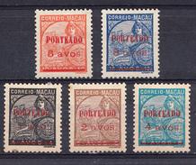 """MACAU 1949. PORTEADO. TIPO """"PADRÖES"""" COM SOBRECARGA  CATALOGO AFINSA Nº 44/48. NUEVOS  COM CHARNEIRA    .SES511GRANDE - Macao"""