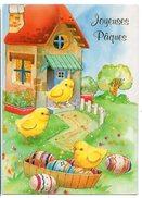 JOYEUSES PAQUES--Poussins Et Oeufs   Cpm  éd  Chromovogue.........à Saisir - Pascua