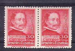 ESPAÑA1935  TRICENTENARIO DE GREGORIO FERNANDEZ   CATALOGO EDIFIL Nº 726 PAREJA  NUEVOS SIN  CHARNELA   .SES511GRANDE - 1931-Hoy: 2ª República - ... Juan Carlos I