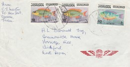 1974 Air Mail JORDAN COVER Multi FISH Stamps To GB - Fishes