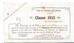 FAIRE-PART SOIREE DANSANTE BAL  DES CONSCRITS  Ville De Chalons-sur-Marne  CLASSE 1913 - Faire-part