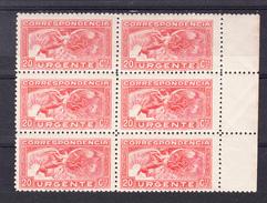 ESPAÑA1933  SELLO DE URGENCIA  CATALOGO EDIFIL Nº 679 BLOQUE   DE 6  NUEVOS SIN  CHARNELA   .SES511GRANDE - 1931-50 Nuevos & Fijasellos