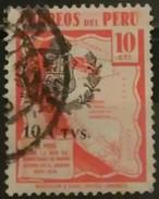 PERÚ 1943 Sobrecargado Con El Escudo Nacional 10 Ctvs. USADO - USED. - Peru