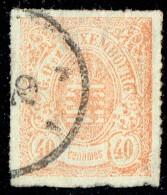 Armoiries 40 Cent.  Percé En Lignes Colorées  Prifix 25 Papier épais Oblitéré - 1859-1880 Coat Of Arms