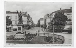AGEN EN 1940 - N° 21 - PLACE JASMIN ET BOULEVARD DE LA REPUBLIQUE ANIME - CPA VOYAGEE - Agen