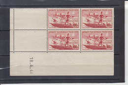 A.E.F. Poste AERIENNE  Hydravion  100F  Coins Dates Le 18 4 1944 Neuf     BLOC De 4 Timbres - Unused Stamps