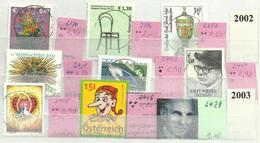 "Österreich 2370-2428 ""9 Briefmarken Aus Jahrgang 2002/2003"" Gestempelt. Mi.:13,10 € - 1945-.... 2ème République"