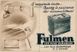 Ancienne Publicite (1951) : Batterie, Accumulateur FULMEN, Les Plus économiques à L' Usage - Advertising
