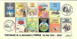 FRANCE 2007 N°03 Albums Fictifs + 2 Cachets Premier Jour FDC TINTIN KUIFJE TIM HERGE GUEBWILLER - Books, Magazines, Comics