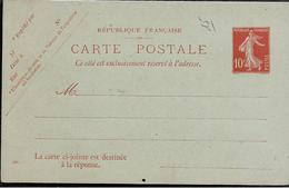 Entier Postal Carte Postale Réponse Payée 10c Semeuse Date 405 Ref SEC E5 Neuve ...G - Entiers Postaux