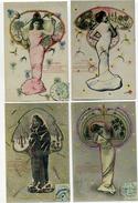 FEMMES - Les 4 Saisons - Photos Montages - Type Art Déco - Lot De 4 Cartes - Femmes