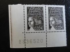 Marianne De Lamouche - 0,02 Euros -paire Bas De Feuille Avec Numéro Et Filet D'encre-  YT 3444 - 2004-08 Marianne De Lamouche