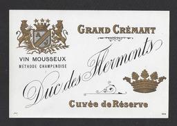 Etiquette De Grand Crémant 1890/1930 -  Cuvée De Réserve  Duc De Flermonts  -  Région Saumur  (49) - Etiquettes