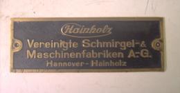 Hannover - Hainholz  Et Cie  - Plaque Bronze -  Maschinenfabriken AG - Werkzeuge