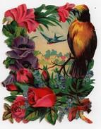 CHROMO Découpis Oiseaux Hirondelle Fleurs Roses Myosotis Paysage - Anges