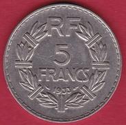 France 5 Francs Lavrillier Nickel - 1933 - SUP - France