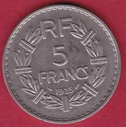 France 5 Francs Lavrillier Nickel - 1935 - SUP - France