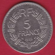France 5 Francs Lavrillier Nickel - 1938 - SUP - Francia