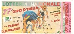 023 - CICLISMO - BIGLIETTO LOTTERIA 77° GIRO D' ITALIA 12 GIUGNO 1994 - Ciclismo