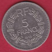 France 5 Francs Lavrillier Nickel - 1938 - TTB - France
