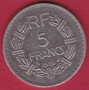 France 5 Francs Lavrillier Nickel - 1938 - TTB - Francia