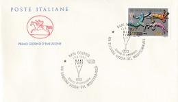 1997 ITALIA - 06 GIOCHI DEL MEDITERRANEO - FDC CAVALLINO - ANNULLO BARI CENTRO - 6. 1946-.. Repubblica