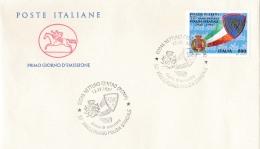 1997 ITALIA - 12 POLIZIA STRADALE - FDC CAVALLINO - ANNULLO NETTUNO CENTRO - 6. 1946-.. Repubblica