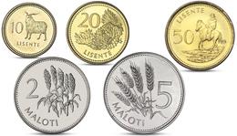 LESOTHO 5 COINS SET 10, 20, 50 LESENTE, 2, 5 MALOTI UNC - Lesotho