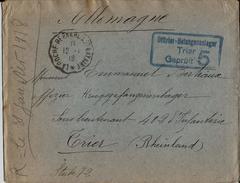 -OFFIZIER GEFANGENENLAGER -TRIER-GEPRUFT TRIER 5 -OBLIT. La Roche Bernard à Saint-Nazaire12.1.1918 - Marcophilie (Lettres)