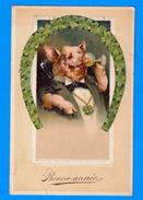 Etrange Cpa De Voeux De Nouvel An Représentant Un Cochon Buvant Une Coupe Encadré Par Tréfles En Forme De Fer à Cheval - Nouvel An