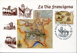 20331, Italia, Special Card And Postmark 2000 Torino,  La Via Francigena,  Chemin De Compostelle,frankenweg - Christianity