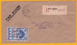 1947 - Madagascar - Enveloppe Recommandée Par Avion De Majunga  Vers Annecy, France - Cachet De Transit à Tananarive - Madagascar (1889-1960)