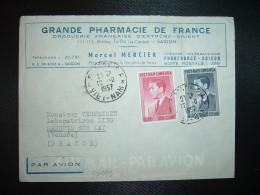 LETTRE TP 4 + TP 0,50 OBL.12 10 1957 SAIGON RP VIET-NAM + GRANDE PHARMACIE DE FRANCE MARCEL MERCIER - Viêt-Nam
