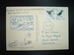 CP PAUL EMILE VICTOR 1982 TP NORGE OISEAU 1,50 + 1,25 OBL.26 04 82 HAMNOY + MISSION GEOGRAPHIQUE ILES LOFOTEN + OFFERT P - Stamps