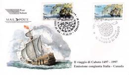 1997 ITALIA - 06 VIAGGIO DI CABOTO, CONGIUNTA - FDC - ANNULLO VENEZIA CENTRO - 6. 1946-.. Repubblica