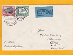 1930 - Envel. Par Avion De Durban, Afrique Du Sud Vers Otten, Suisse - Trouvée Ouverte Et Fermée Officiellement - Posta Aerea