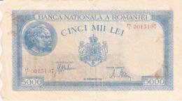 ROUMANIE   5000 Lei   28/9/1943   P. 55 - Romania
