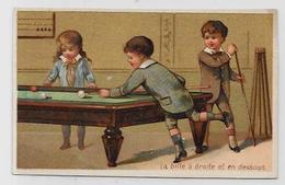 Chromo Billard Billiard Publicitaire 10 X 6,5 Voir Scan Du Dos Clermont Ferrand - Unclassified