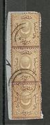Turkey; 1868 Duloz Postage Due Stamp 1 K. (Strip Of 3 On Fragment) - 1858-1921 Ottoman Empire