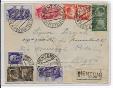 1941 - OCCUPATION ITALIENNE En FRANCE - RARE ENVELOPPE RECOMMANDEE De MENTONE (MENTON) Avec CENSURE => NIZZA - Poststempel (Briefe)