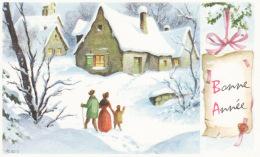 Bonne Année, église, Village, Neige, Personnages - Nouvel An